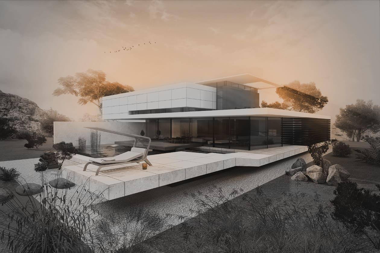 Avantgarde Villa Flachdach