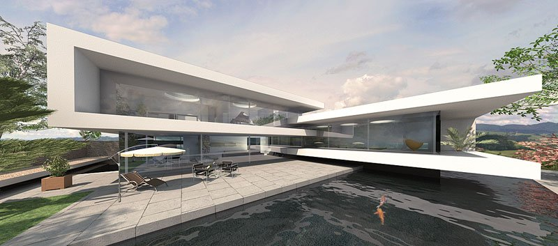 Fachdach Architektenhaus modern