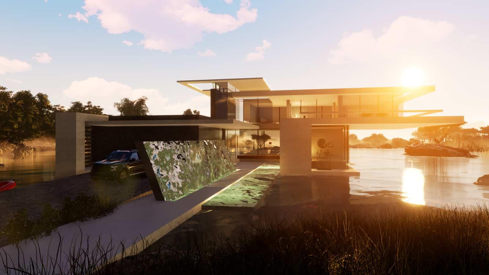 Villa mit Flachdach