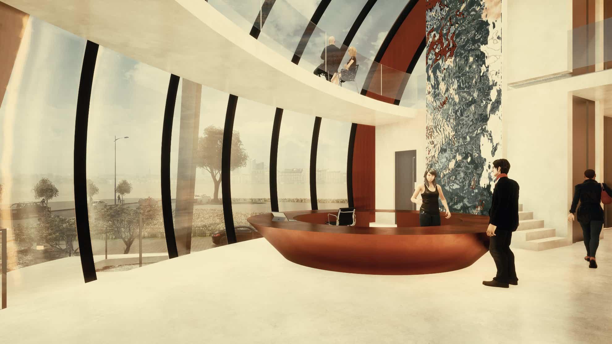Fimengebäude Foyer Glas