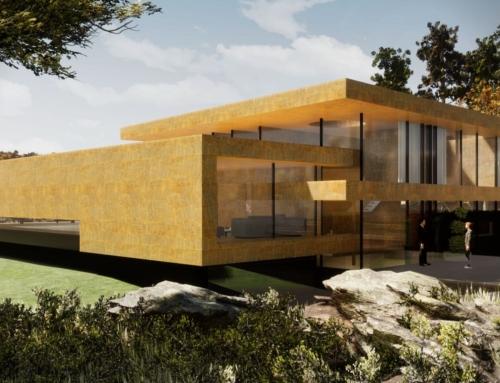 Modernes Haus mit gelber Sandstein Fassade