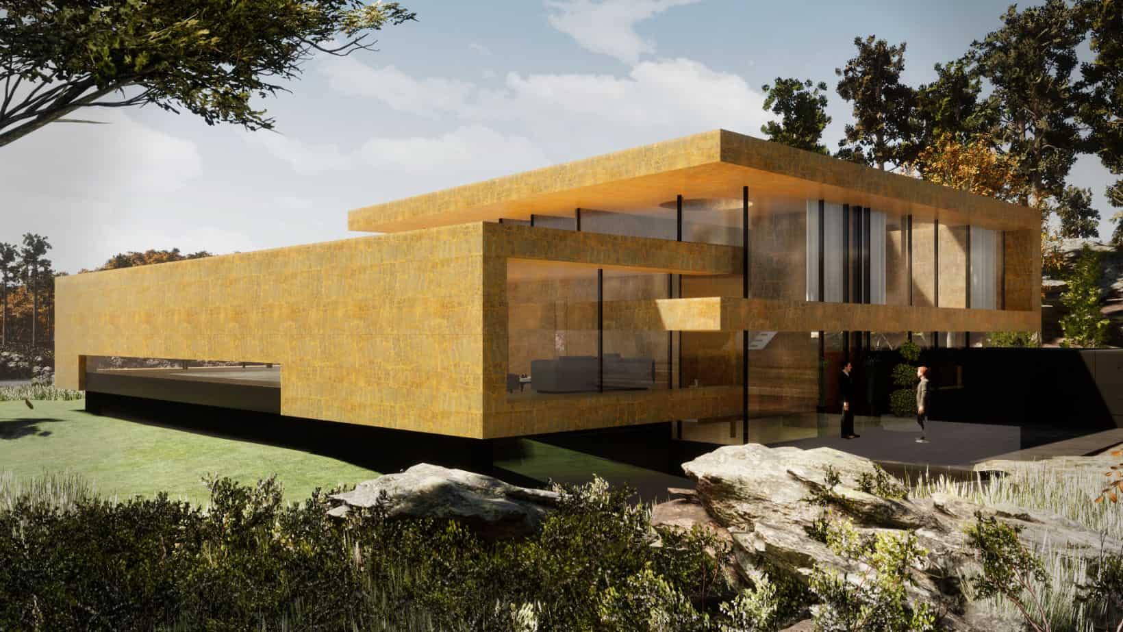 modernes Haus gelber Sandstein