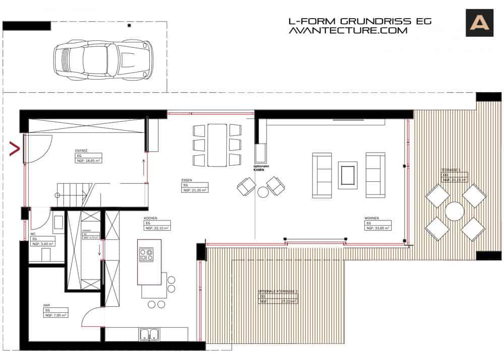 5 grundriss ideen f r ein modernes einfamilienhaus for Einfamilienhaus l form