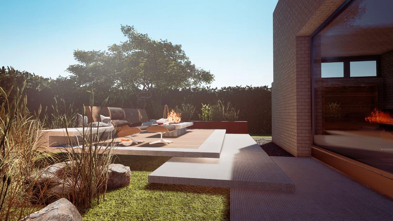 Gartenplanung schwebende Terrasse