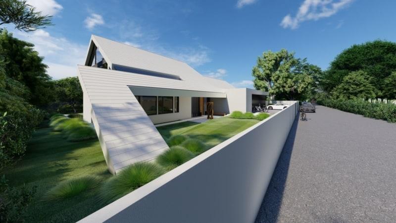 Architektenvilla mit Satteldach am Hang im Taunus
