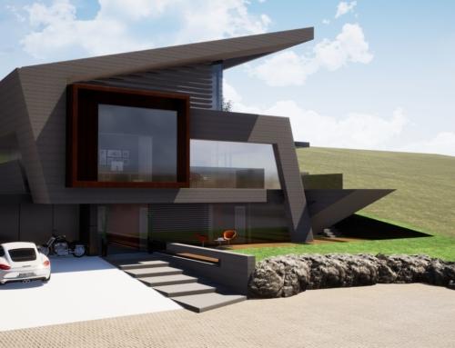 Prototyp eines Pultdachhauses für eine Serienfertigung