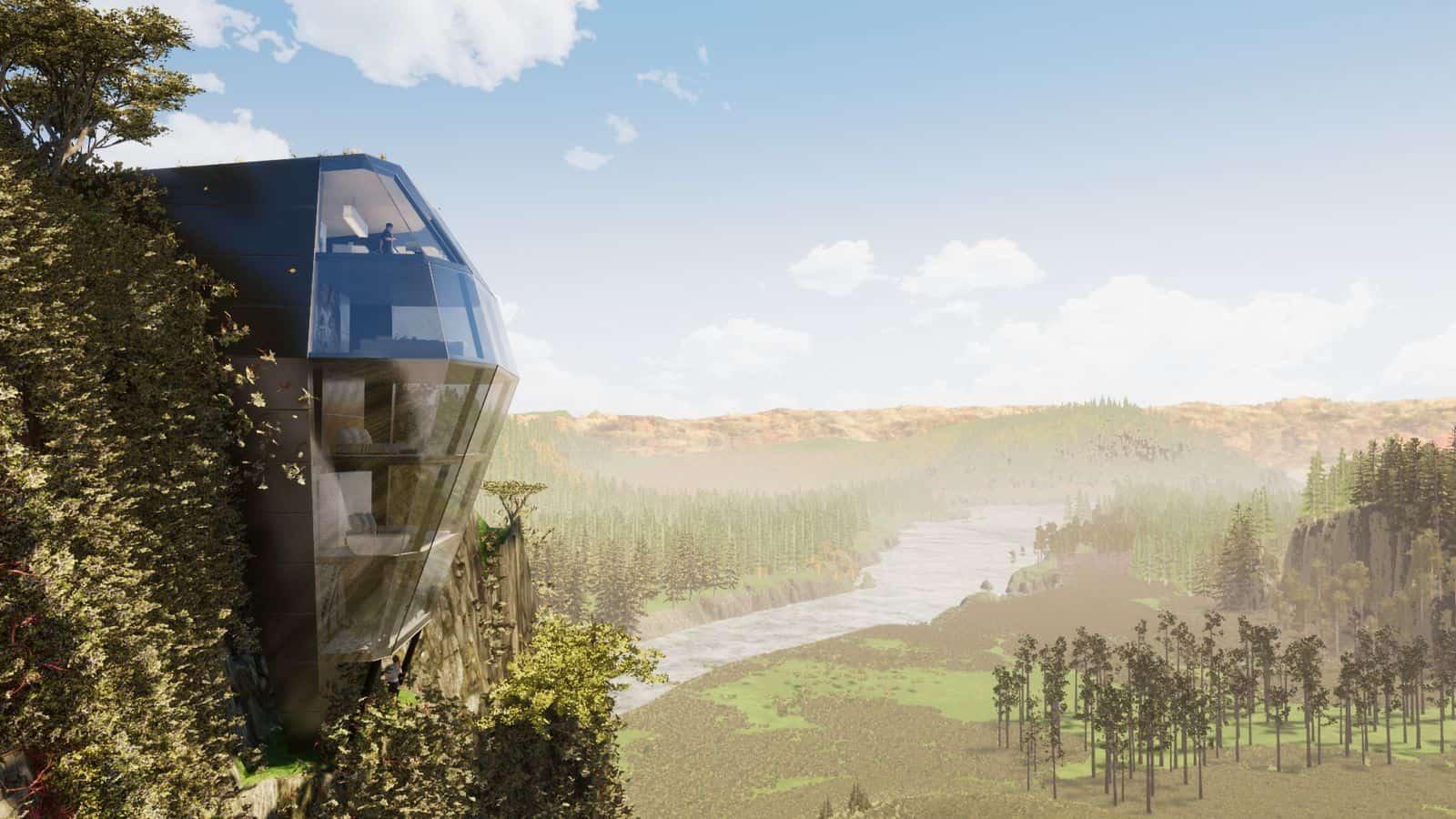 Futuristisches Haus an Klippe