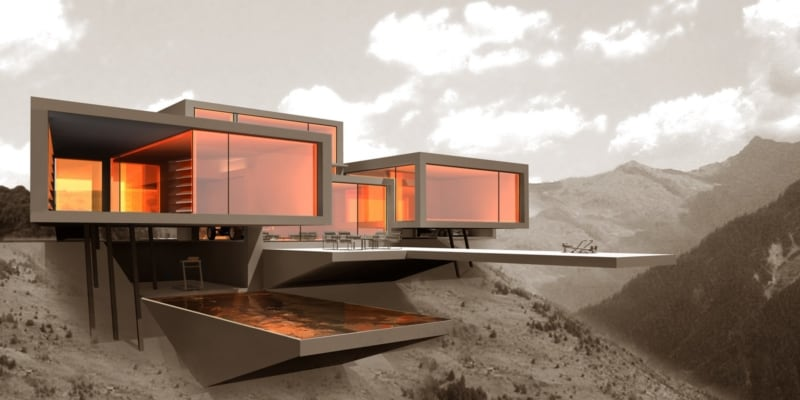 Futuristische Villa am Hang