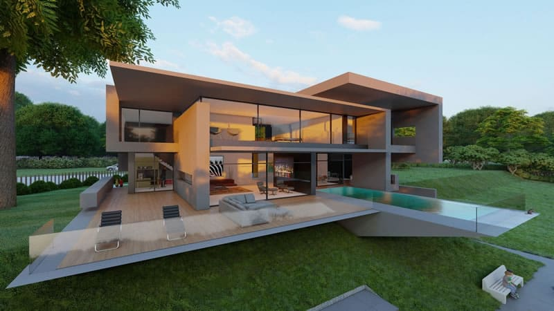 Moderne Flachdachhäuser