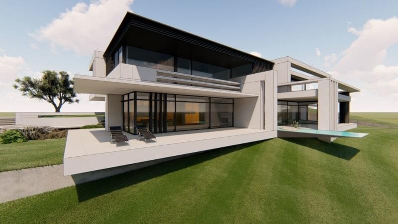 Luxusvilla in gebogener Optik mit Pool und schwebendem Gartenhaus