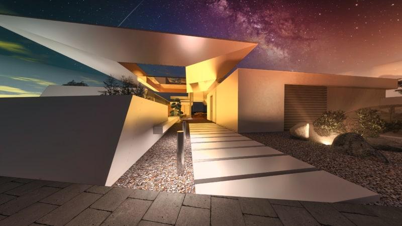 Modernes Atriumhaus Front